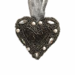 NEW! Small Hanging Beaded Heart With Gems & Pearls - Smoke