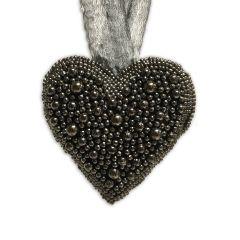 Small Hanging Beaded Heart - Smoke