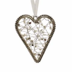 NEW! Small Hanging Wire Heart With Smoke And Silver Beads