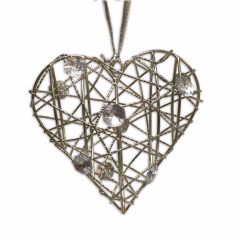 Silver Wire Heart with Gems