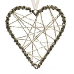 Medium Silver Wire Heart Decoration with Clear Beads