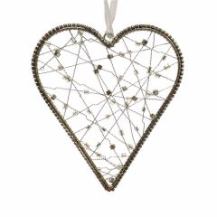 Medium Hanging Wire Heart with Silver & Smoked Glass Beads