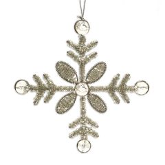 Silver Beaded Snowflake Decoration with Gems