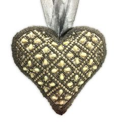 Large Smoke Cupid Gold Beaded Heart