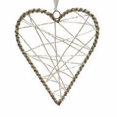 Large Silver Wire Heart Decoration with Clear Beads