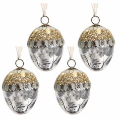 NEW! Set of 4 Silver Pearl & Gem Glass Acorn Baubles