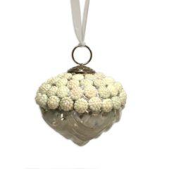 Antique White Pearl Beaded Artichoke Glass Bauble