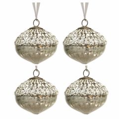 NEW! Set of 4 Antique White & Silver Bead Glass Artichoke Baubles