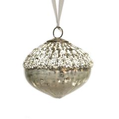 Antique White & Silver Beaded Artichoke Glass Bauble