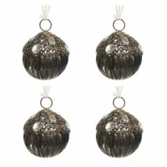 NEW! Set of 4 Silver Gem & Bead Topped Glass Fluted Baubles
