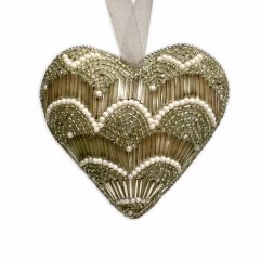 Dasher Antique Silver & Pearl Beaded Heart Decoration