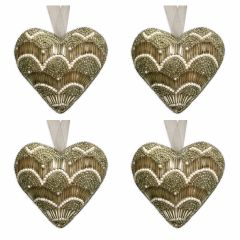 NEW! Set of 4 Dasher Antique Gold & Pearl Beaded Heart Decorations
