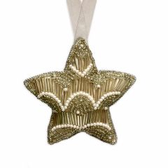 Dasher Antique Silver & Pearl Beaded Star Decoration