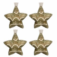 NEW! Set of 4 Dasher Antique Gold & Pearl Beaded Star Decorations