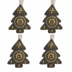 NEW! Set of 4 Comet Gold Beaded Tree Decorations