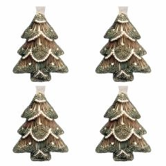 NEW! Set of 4 Dasher Antique Gold & Pearl Beaded Tree Decorations